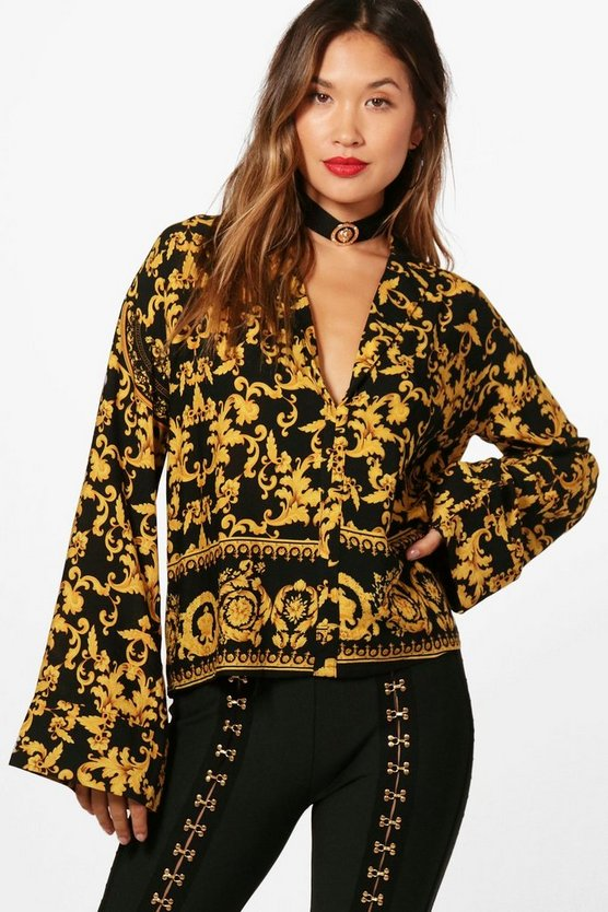 Evelyn Baroque Print Oversized Shirt
