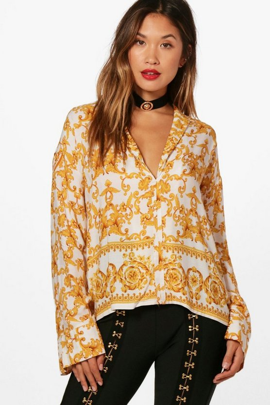 Baroque Print Oversized Shirt
