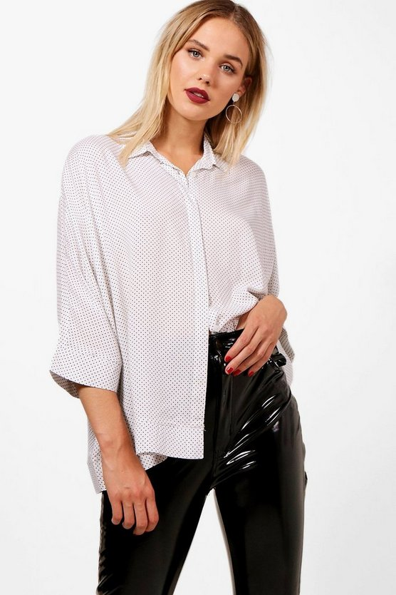 Libby Spot Print Oversized Swing Shirt