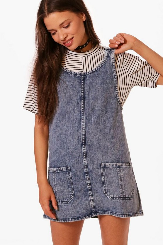 Lila Patch Pocket Denim Pinafore Dress
