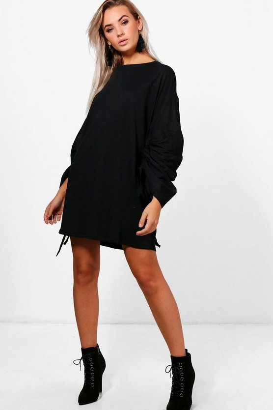 Sal Lace Up Rouched Sleeve Shift Dress