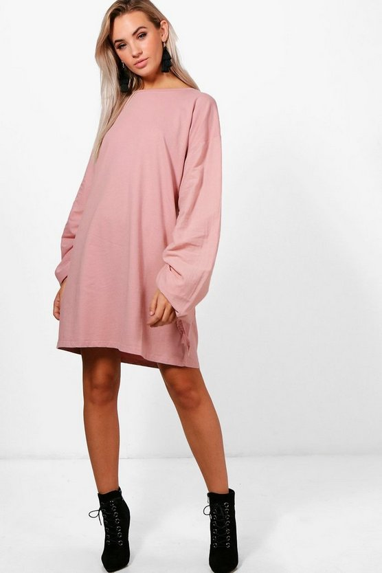 Sal Lace Up Ruched Sleeve Shift Dress