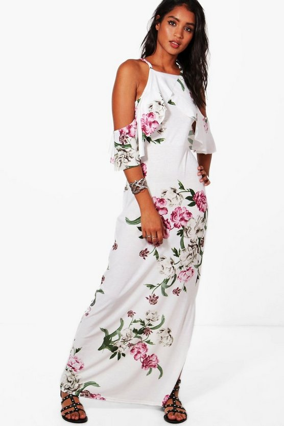 Harriet Cold Shoulder Ruffle Sleeve Maxi Dress