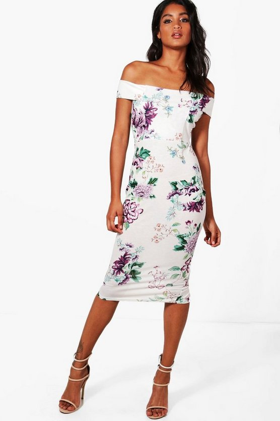 Maria Off Shoulder Floral Midi Dress