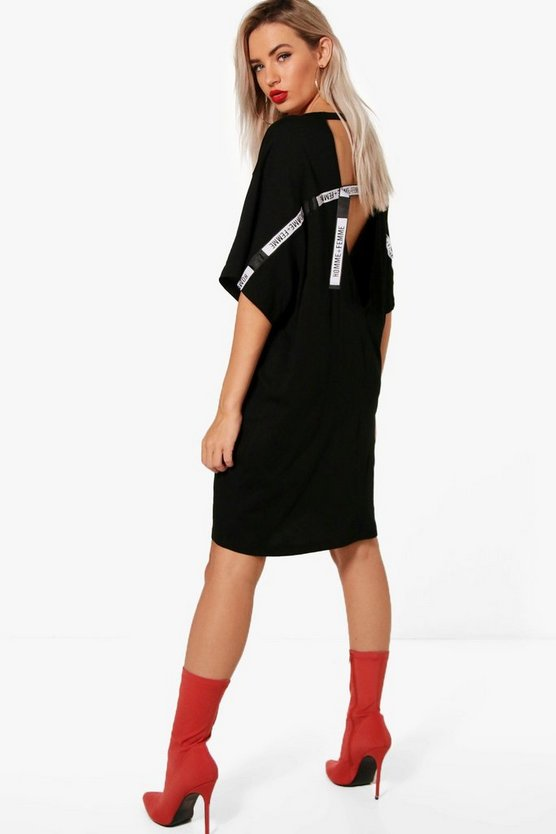 Ali V Neck Low Back Tape Detail T-Shirt Dress
