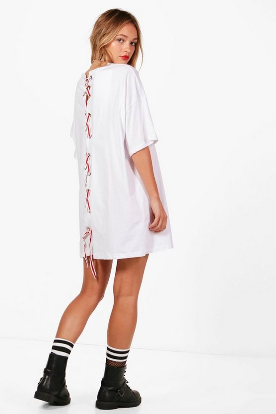 Sally Lace Up Sport Trim Back Detail T-Shirt Dress