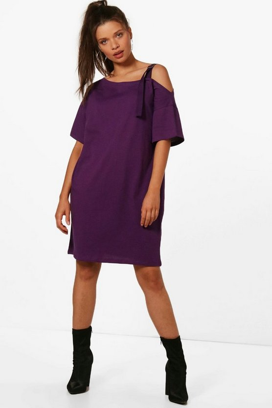 Ashley Cold Shoulder Buckle Tape T-Shirt Dress