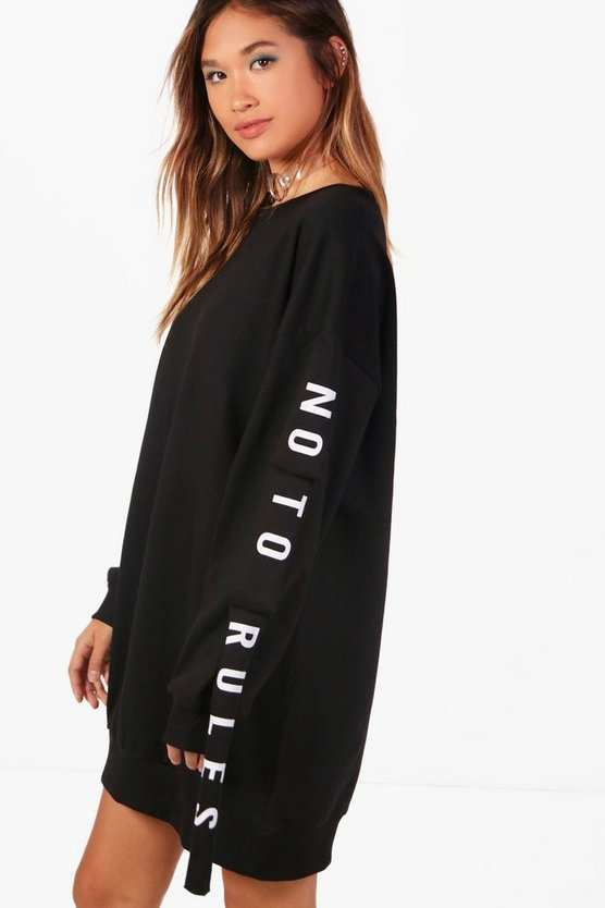 "Tanya Sweatshirt-Kleid mit ""No to Rules""-Slogan"