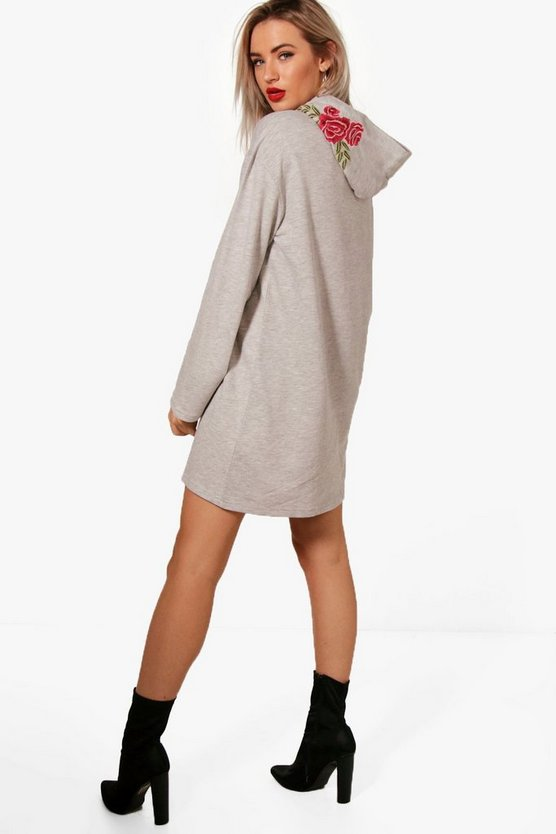 Molly Embroidered Hooded Wide Sleeve Sweat Dress