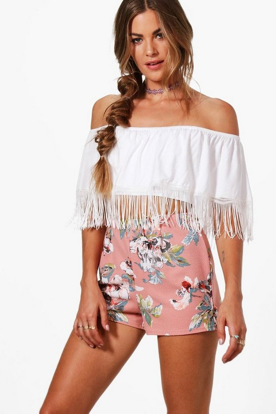 Fraya Floral High Waisted Shorts