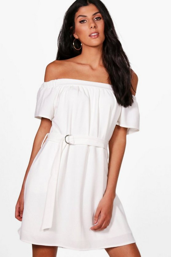Georgia Off The Shoulder Belted Shift Dress