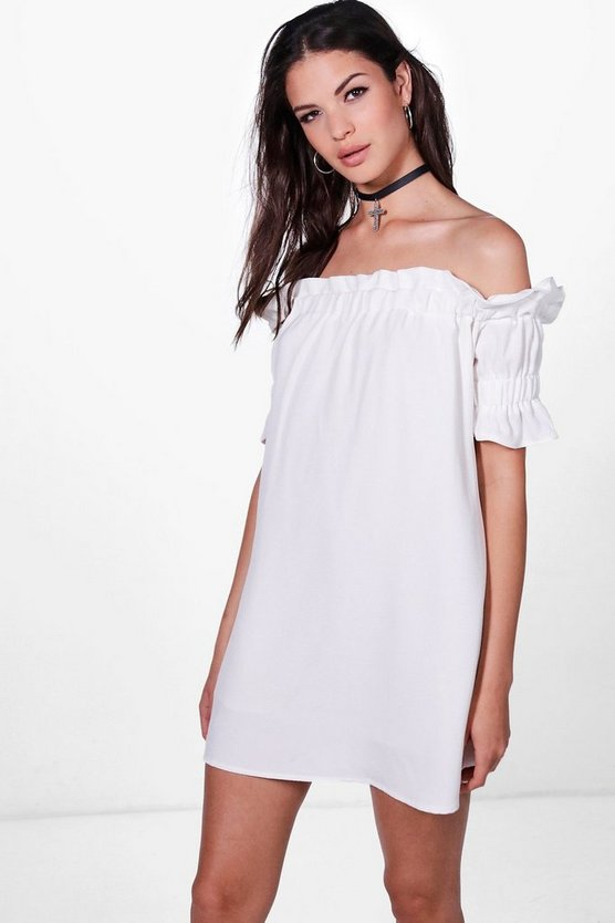Katie Off The Shoulder Frill Sleeve Dress