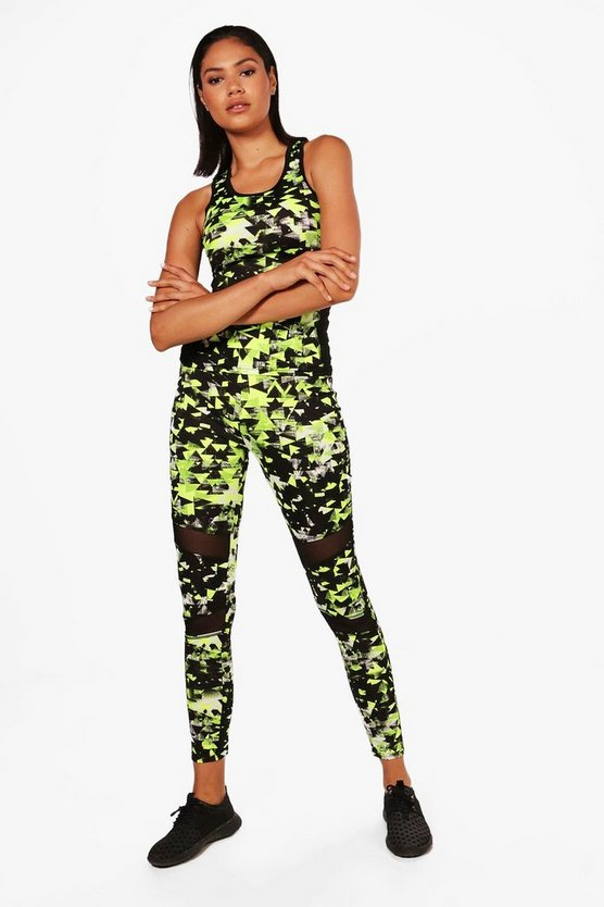 Libby Fit Printed Mesh Running Legging