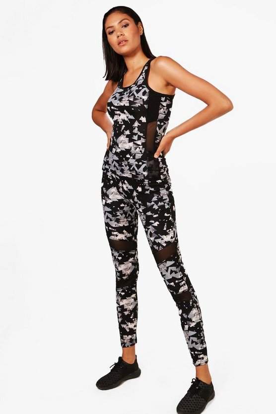 Mya Fit Printed Mesh Running Legging
