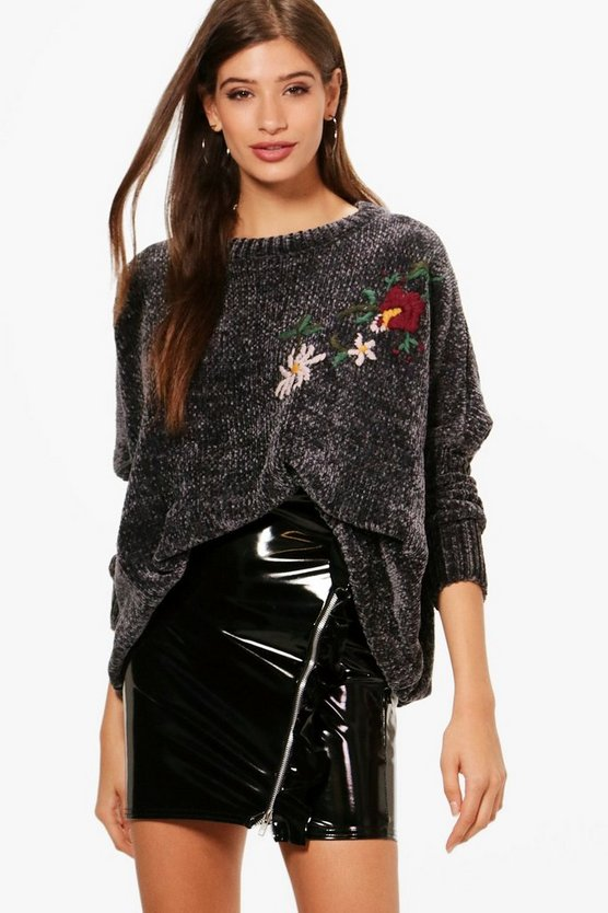 Premium Embroidered Boxy Chenille Jumper