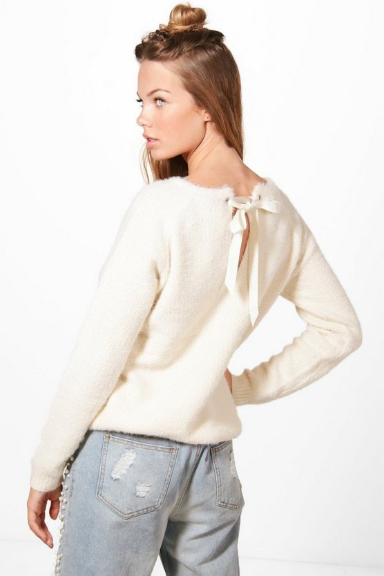 Aimee Ribbon Lace Up Back Soft Knit Jumper