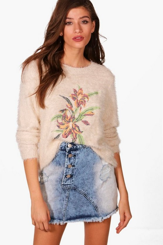 Alicia Floral Tapestry Embroidered Soft Knit Jumper