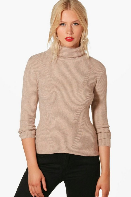 Hannah Roll Neck Rib Knit Jumper