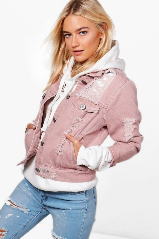 Melanie Distressed Twill Jacket