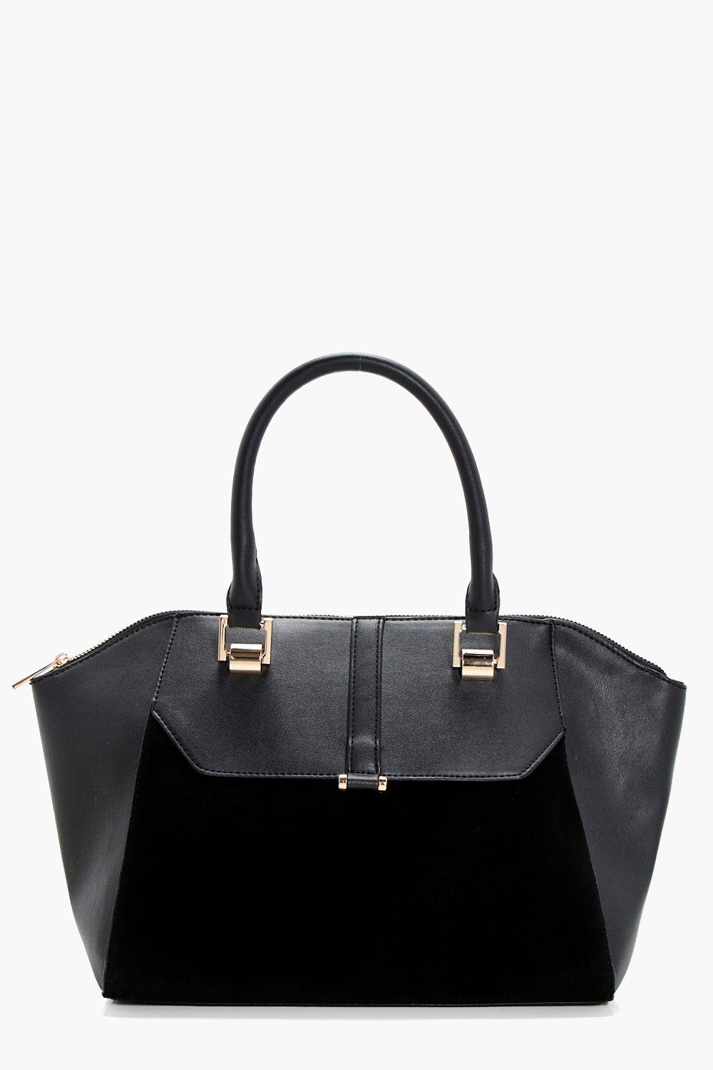Mixed Textured Winged Tote - black - Rosie Mixed T