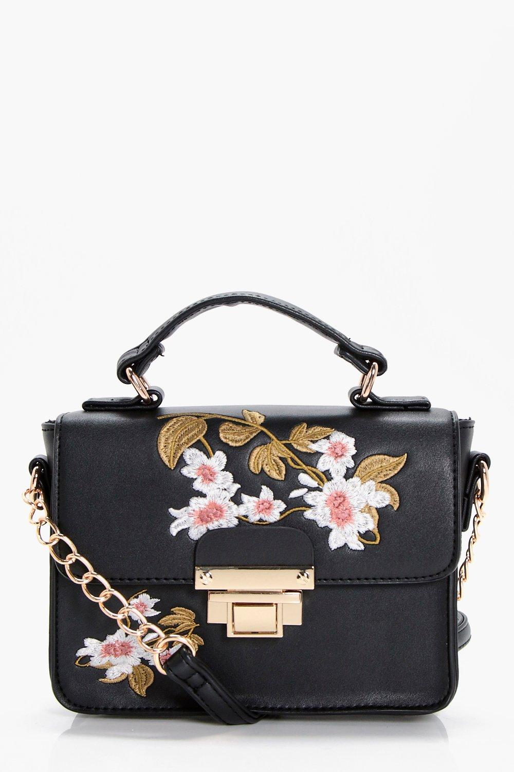 Embroidery And Lock Cross Body - black - Lola Embr