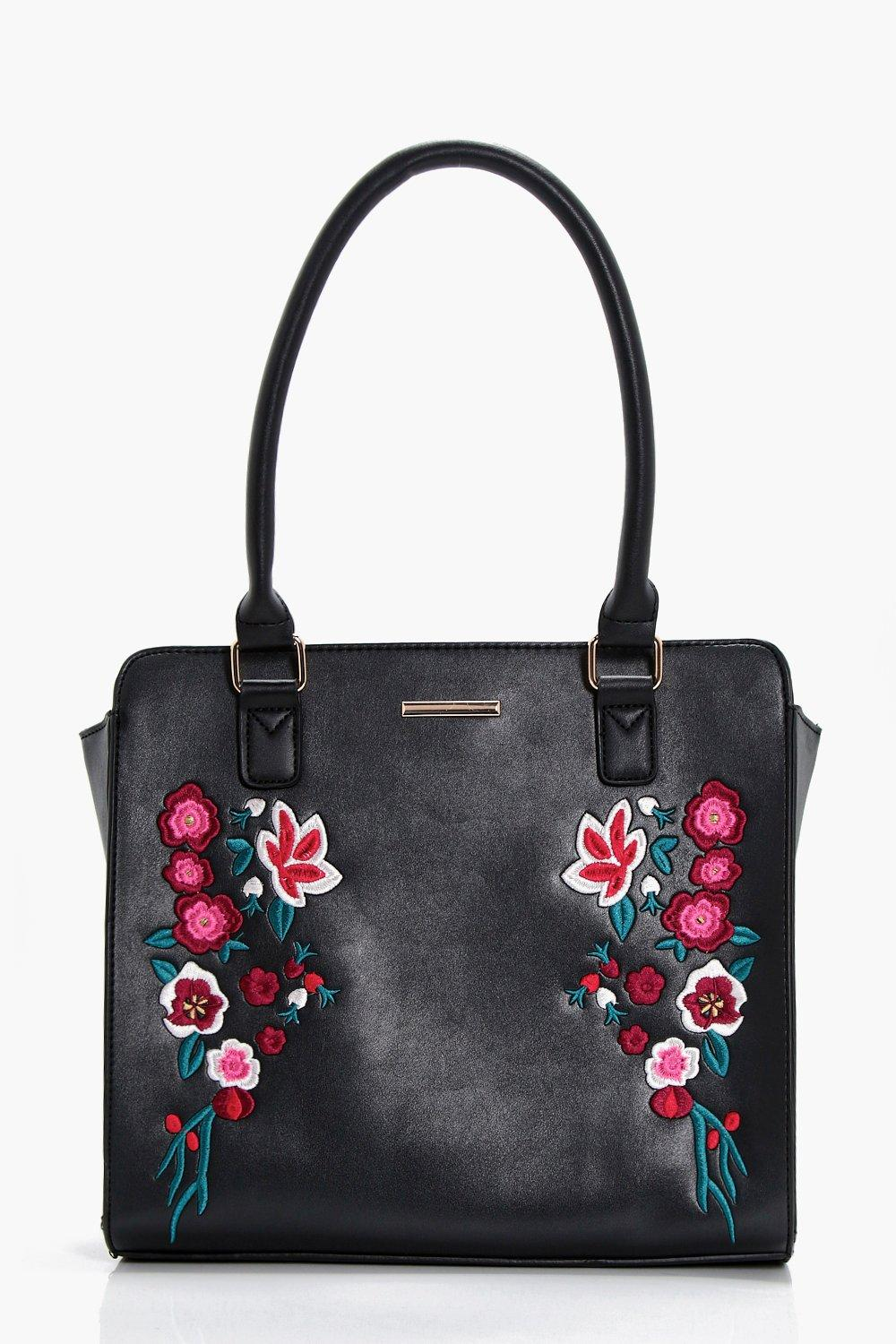 Embroidery Structured Tote - black - Rose Embroide