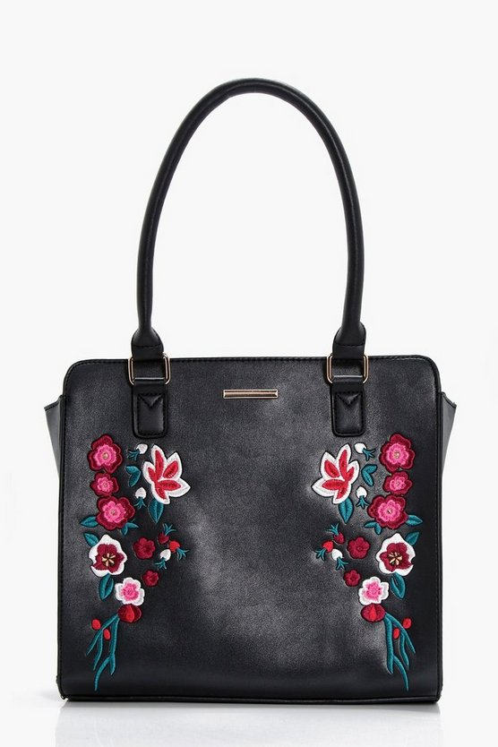 Rose Embroidery Structured Tote