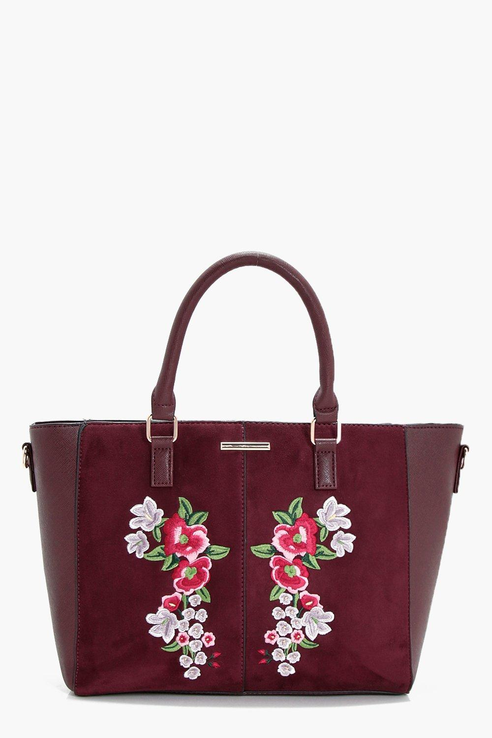 Embroidery Winged Tote - wine - Holly Embroidery W