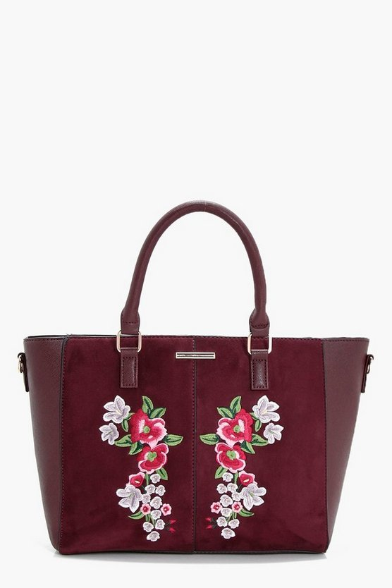Holly Embroidery Winged Tote