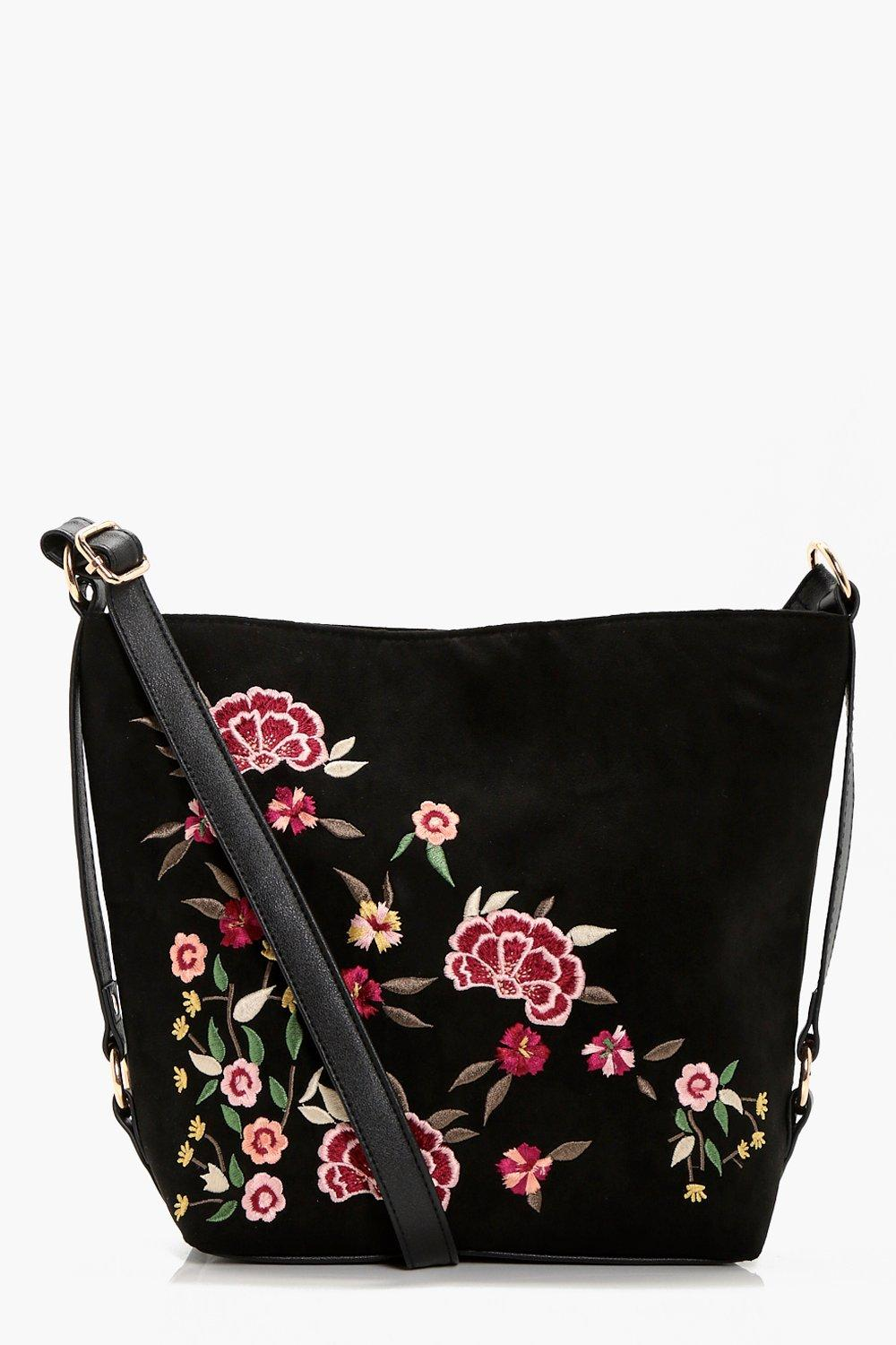 Embroidered & Stud Bucket Cross Body - black - Ros