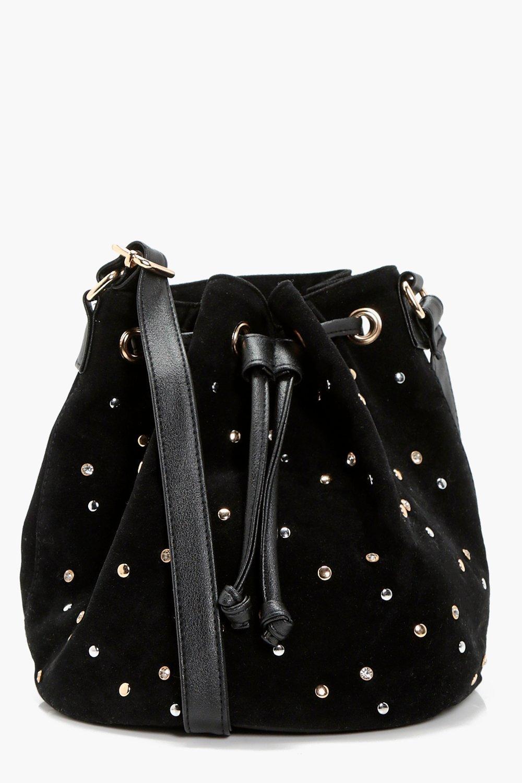 Multi Stud Duffle Cross Body Bag - black - Kirsten
