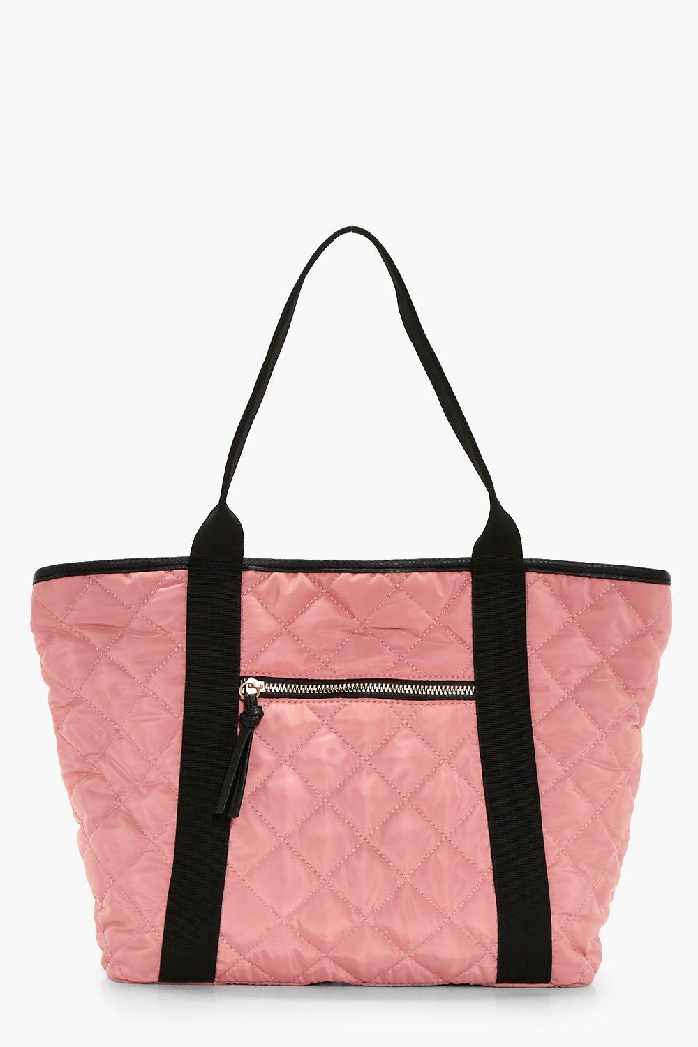 Quilted Nylon Shopper Bag - pink - Holly Quilted N