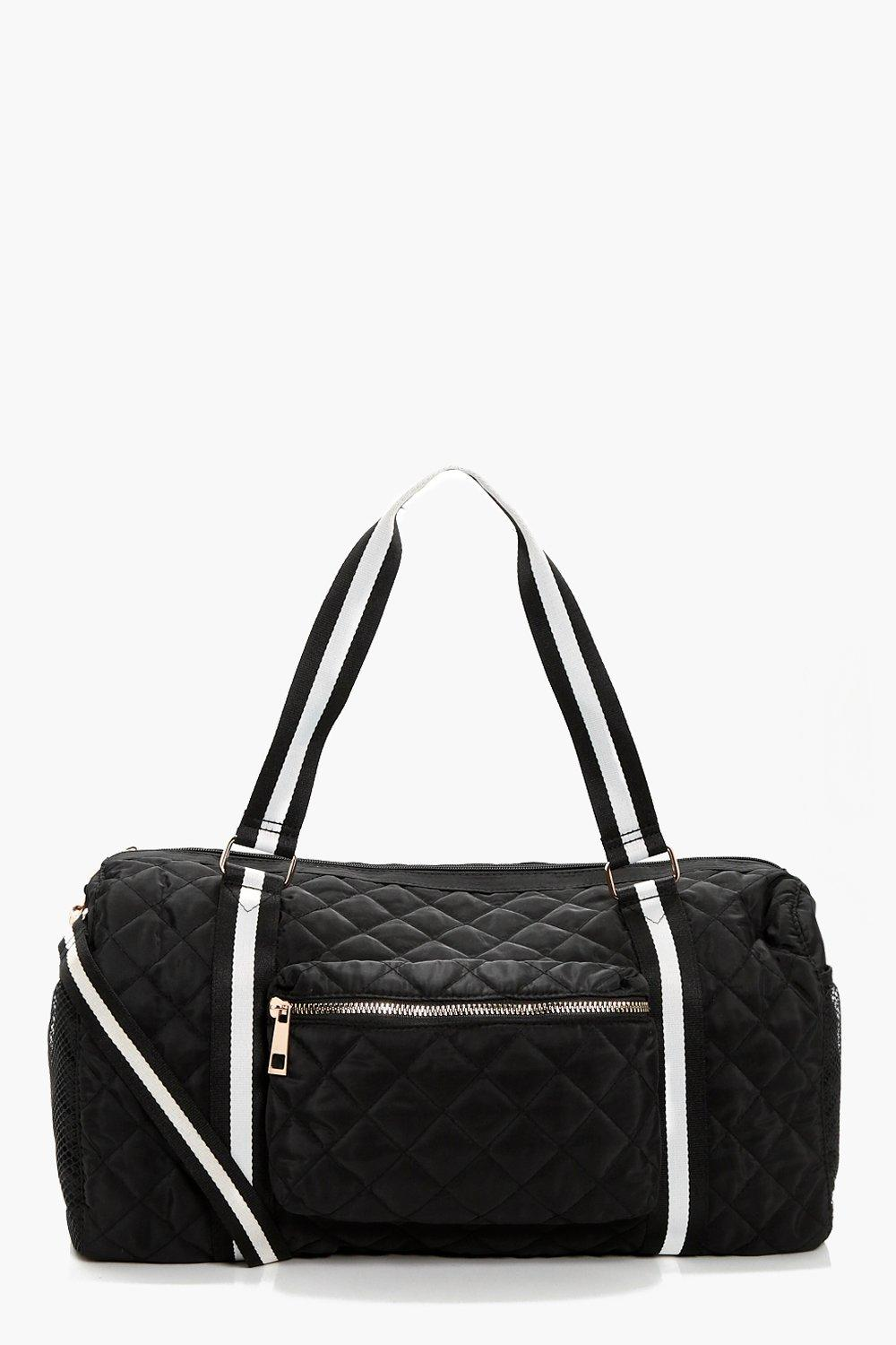 Quilted Nylon & Webbing Holdall - black - Sophie Q