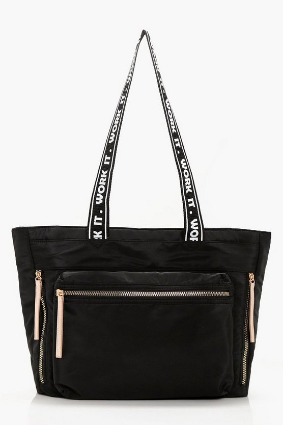 Natalie Work It Slogan Gym Bag
