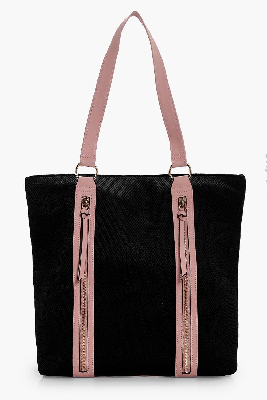 Mesh & Contrast Bind Shopper Bag - black - Emma Me
