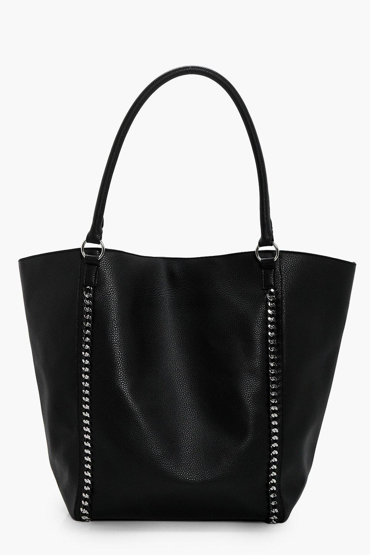 Chain Detail Shopper Bag - black - Melissa Chain D