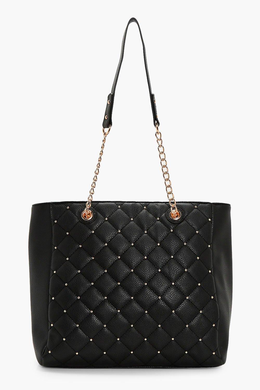 Quilt & Stud Tote Bag - black - Heather Quilt & St