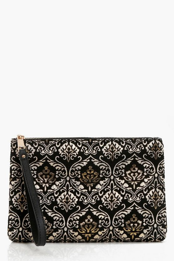 Emma Brocade Zip Top Clutch Bag