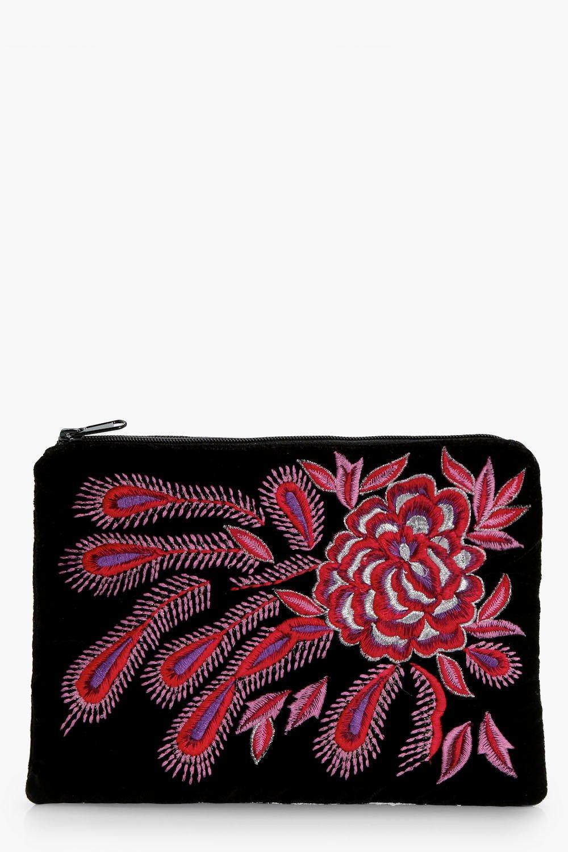 Rose Embroidery Clutch - black - Melanie Rose Embr