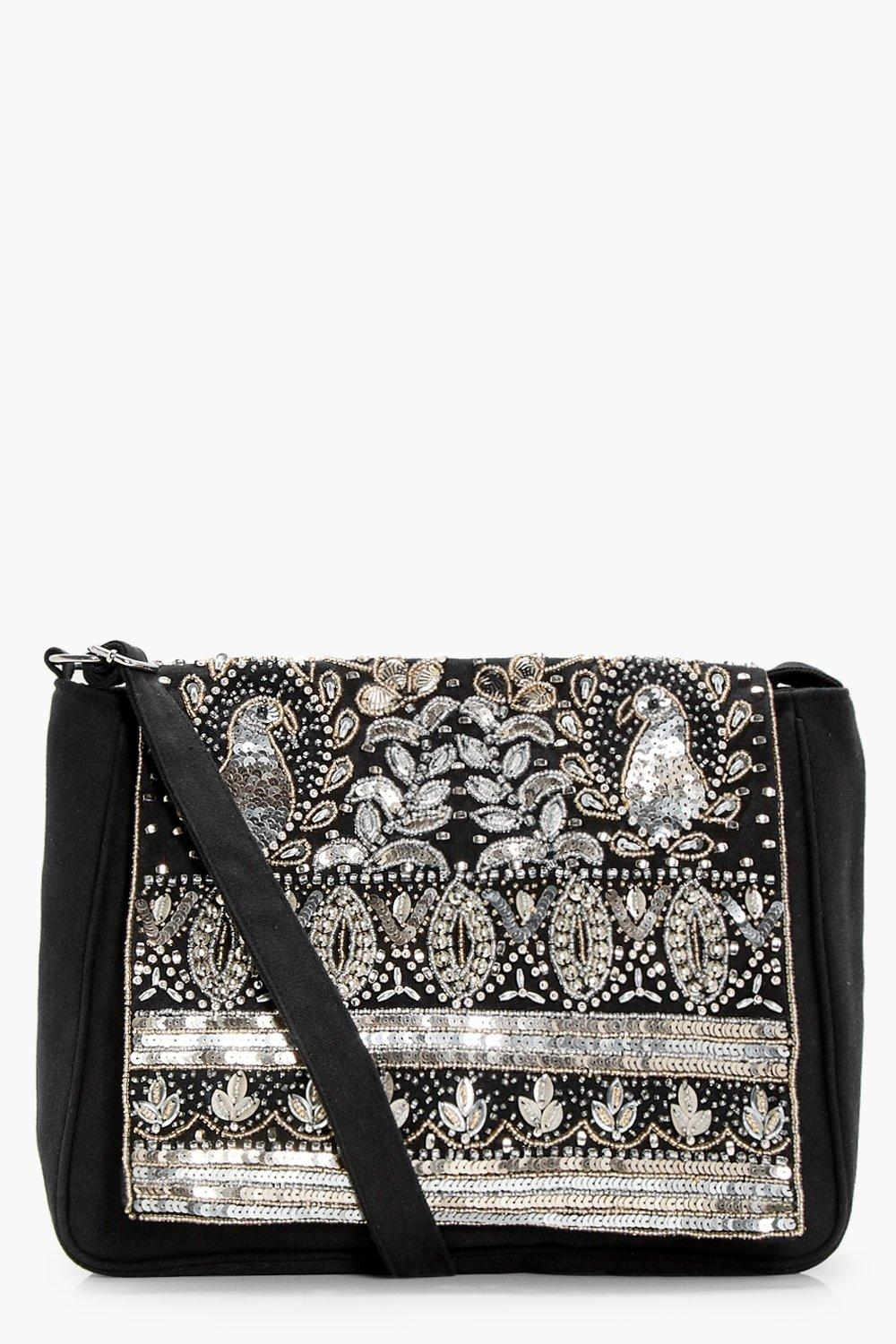 All Over Embellished Cross Body - black - Amelia A