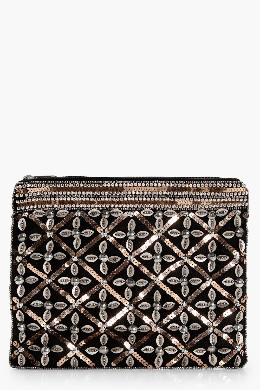 Sequin Embellished Zip Top Clutch - black - Josie