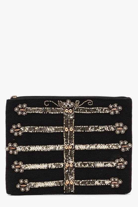 Laura Military Sequin Clutch