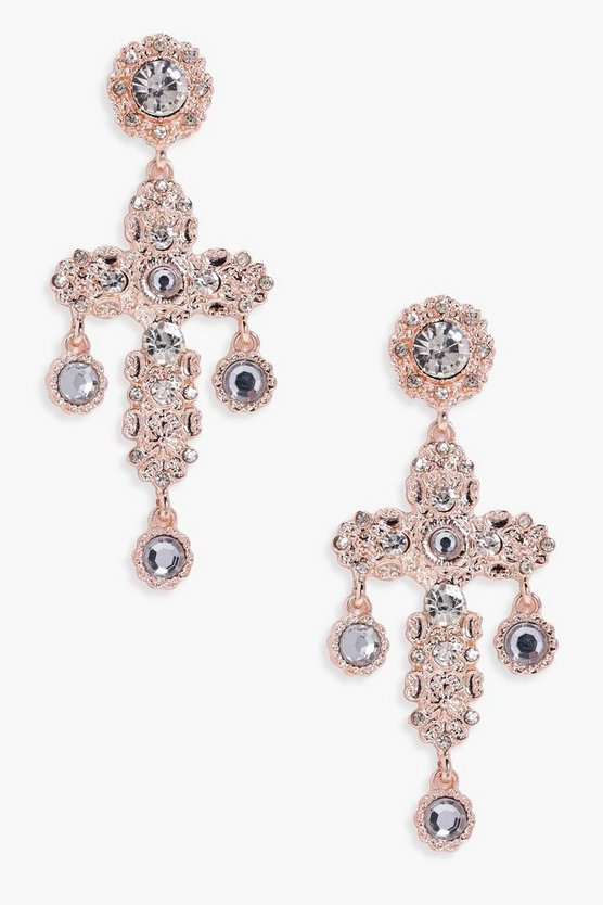 Lucy Statement Diamante Cross Earrings