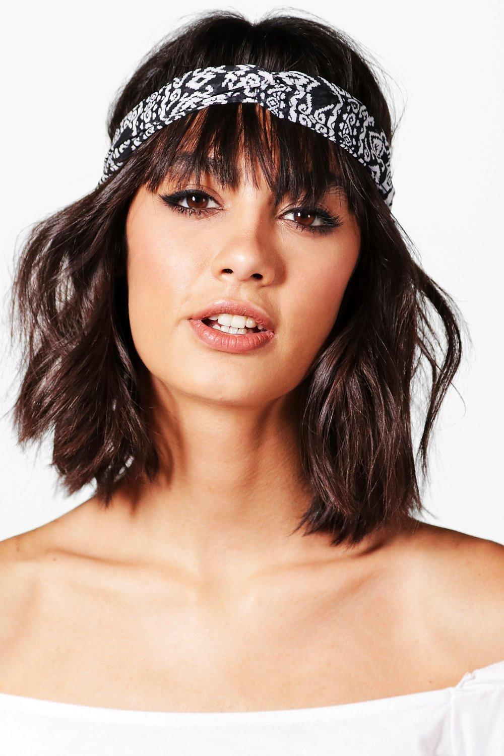 Aztec Print Twist Knot Headband - black - Amy Azte