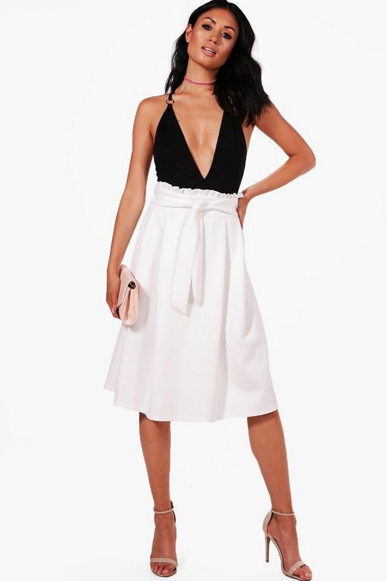 Sorelle Ruffle Waist Box Pleat Skater Skirt