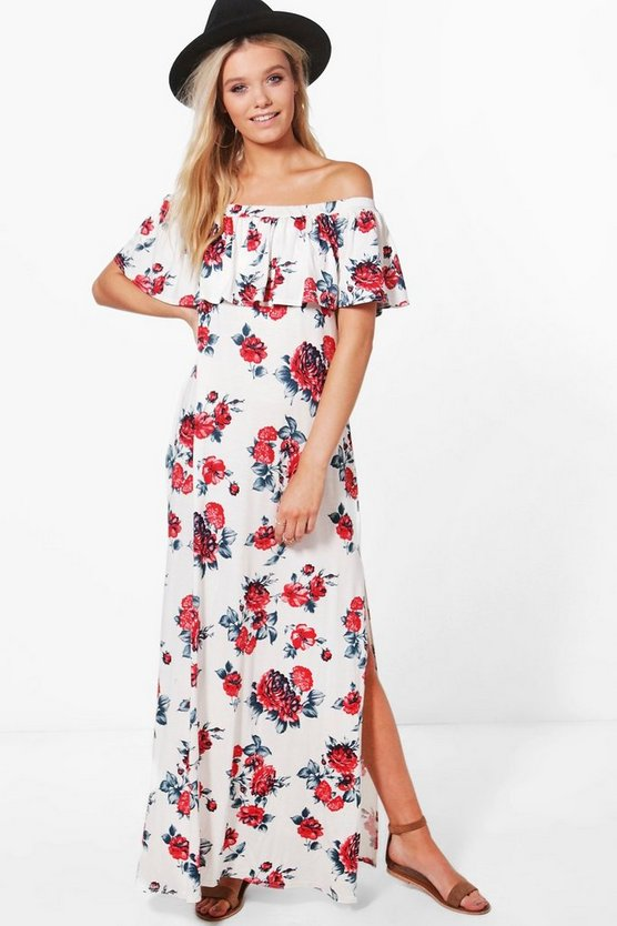 Hanna Off Shoulder Ruffle Bandeau Maxi Dress