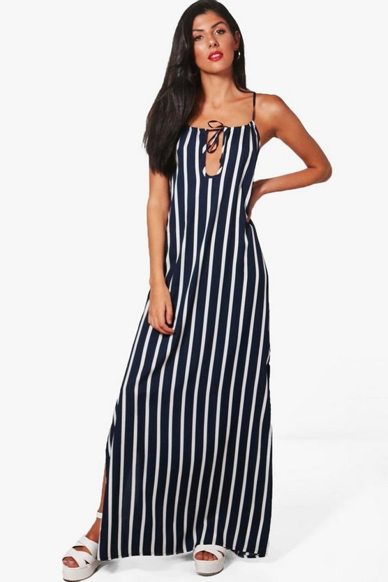 Louisa Stripe Tie Front Maxi Dress