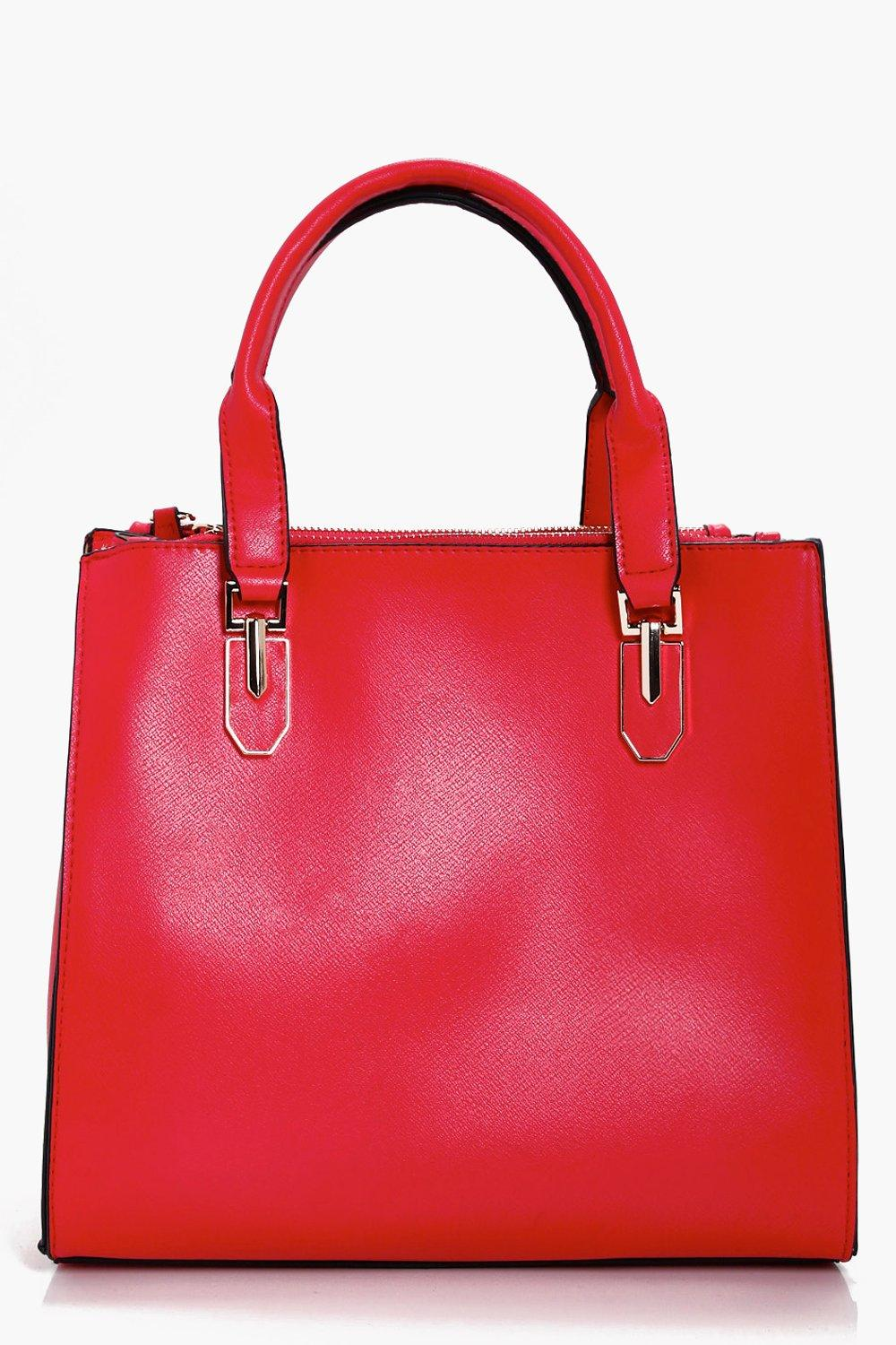 Statement Strap Mini Tote Cross Body Bag - red - H