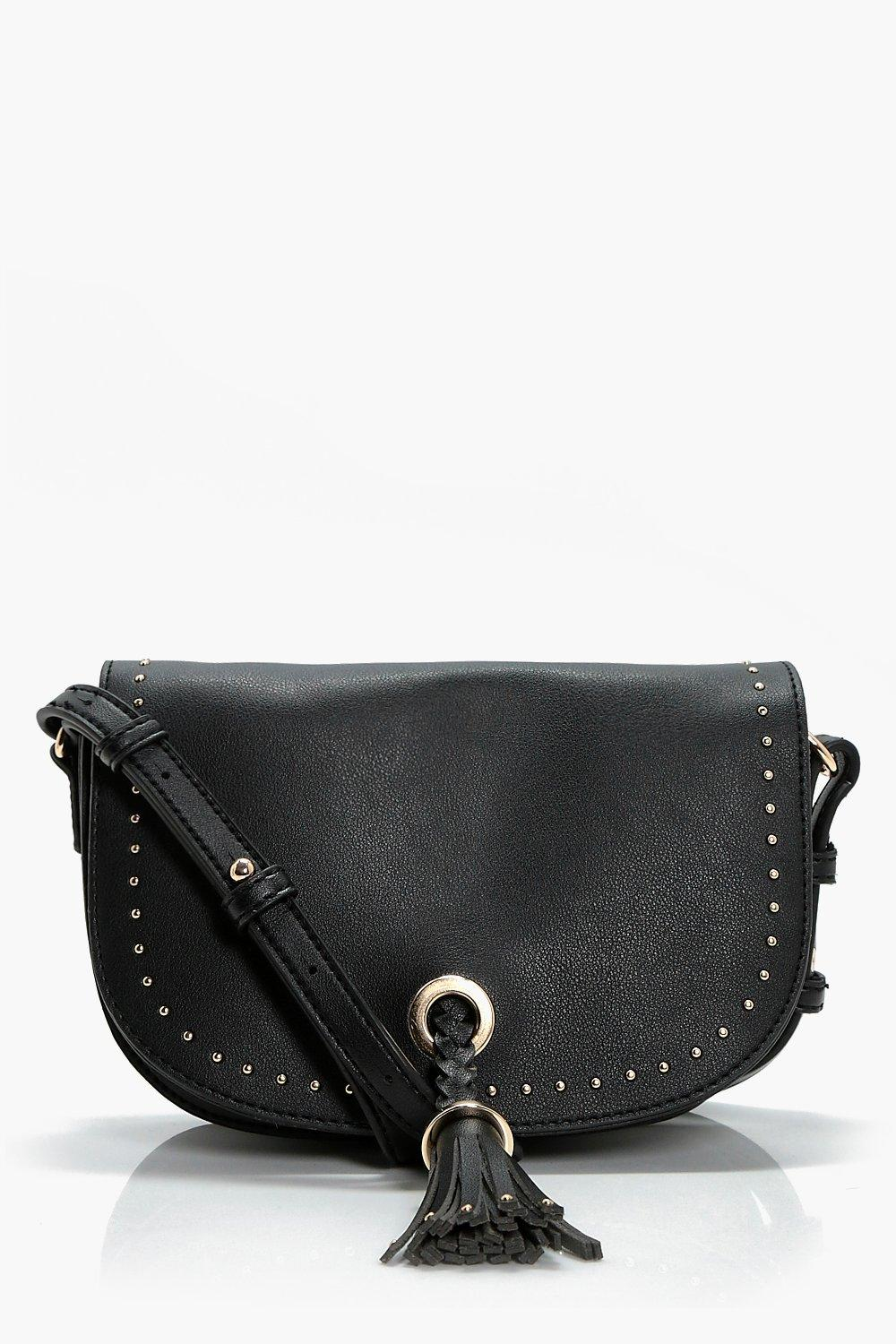 Mini Stud & Tassel Detail Cross Body Bag - black -