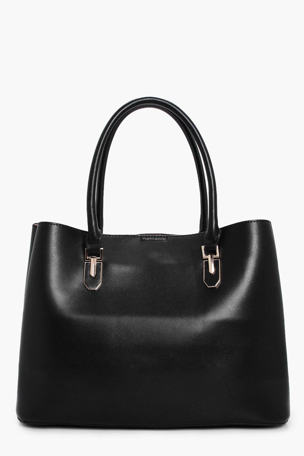 Metal Detail Tote - black - Hannah Metal Detail To